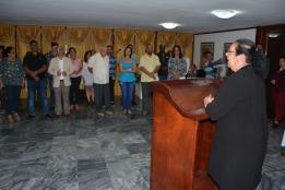 La Dr. Cs. Gloria Fariñas León, de la Universidad de La Habana, luego de recibir la Categoría Docente Especial de Profesor Invitado de la Universidad de Holguín. Celebrado en la Plaza de la Revolución de Holguín, el 20 de diciembre de 2018. UHo FOTO/Luis Ernesto Ruiz Martínez.