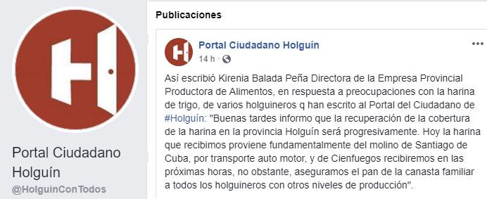 Captura de la publicación del Portal del Ciudadano Holguin en Facebook