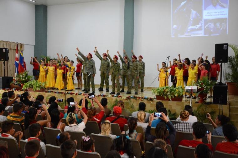 Acto provincial de homenaje a Hugo Chávez, efectuado en el teatro de la Universidad de Holguín, el 5 de marzo de 2019. Foto: Luis Ernesto Ruiz Martínez.